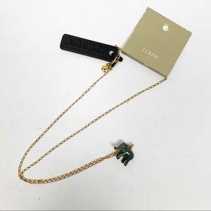 J. Crew | Gold Brass Elephant Charm Necklace NWT